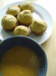Spicy Sweet Potato Soup and Cornmeal Muffins