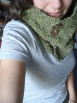 Cozy Basket Weave Cowl with Pottery Buttons