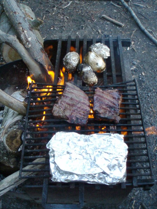 campfire steak and potatoes